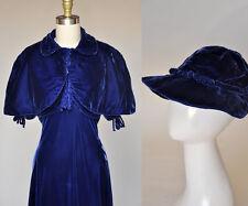 Vintage VTG 30s 1930s Blue Silk Velvet Dress Cape Hat Rhinestones Pleating Set