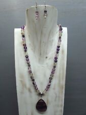 """18"""" Fluorite Necklace Round Beads Tear Drop Pendant with Free Earrings US Seller"""