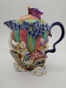 Fitz and Floyd Bunny Rabbit Teapot and Lid Sailboat Hot Air Balloon 1995