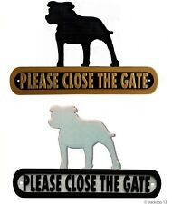 Staffie Please Close The Gate Silhouette Dog Plaque - House Garden