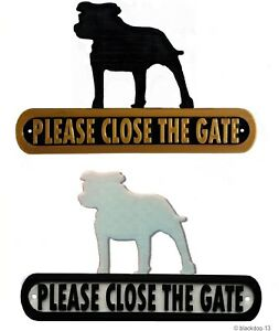 Staffie Please Close The Gate Silhouette Dog Plaque - House Garden