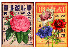 Floral Bingo #3 - Set of TWO 5x7 Flower Collage Fabric Blocks - BUY 2, GET 1