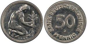 GERMANIA 50 Pfennig 1949 J - PCGS AU58