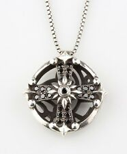 Versani Circle Key Celtic Cross Black Diamond Necklace 1.0ct Size 26 Sterling