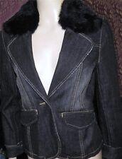 BEBE Dark Denim Blue Jean Rabbit Fur Collar Suit Coat Blazer Holiday Jacket S