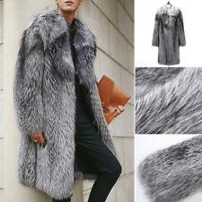 Männer Warm Pelzmantel Nerzpelzes Mantel Nerzmantel Jacke Outwear Gr:S-5XL Grau