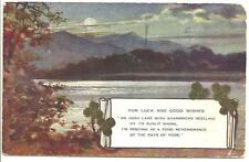 OLD POSTCARD - LUCKY SHAMROCK ON REPRODUCED ARTIST'S IMPRESSION OF AN IRISH LAKE