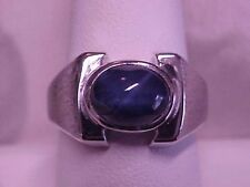 *VINTAGE*AWESOME*MENS BLUE STAR SAPPHIRE SOLITAIRE RING 14K WHITE GOLD sz9 GIFT