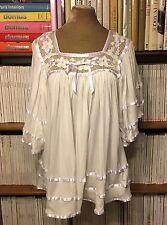 Designer CAROLINA K white crochet draped blouse shirt top S UK 8-10 summer