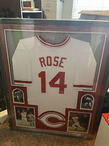 Pete Rose Cincinnati Reds Auto Signed Jersey Framed Rose COA