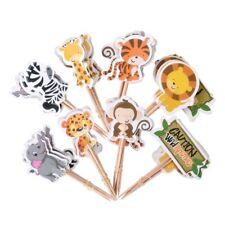 24pcs Jungle Safari Animal Cupcake Toppers Party Decorations