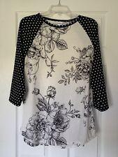 Lularoe Randy T Size XL Floral B&W Polka Dots, EUC