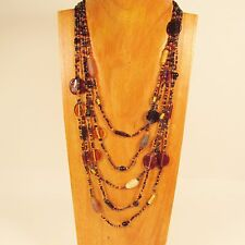 "26"" Waterfall Multi Strand Mixed Bead Gold Black Handmade Seed Bead Necklace"