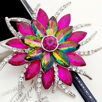 Vintage Style - Rainbow Watermelon & Hot Pink Large Flower Statement Brooch Pin