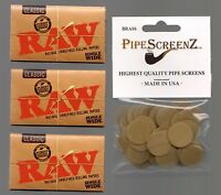 "3X RAW Classic SINGLE WIDE SIZE Rolling papers & 100+ (3/4"") BRASS PIPE SCREENS"