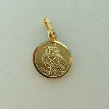 Brand New Solid 9ct Yellow Gold 12mm Saint Christopher Medal Pendant