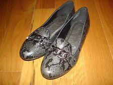 Wanted Payton Gray/Black PYTHON Snake Print Flats Shoes Womens 5.5  5 1/2  NEW