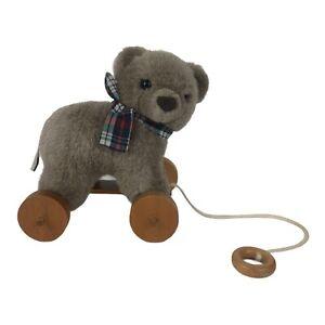 "Applause Vintage Nostalgic Bear On Wheels Plush Pull Toy Height 7"""
