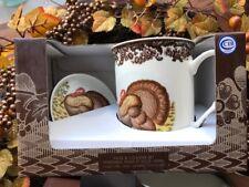 Spode Woodland Thanksgiving Turkey Ceramic Mug and Coaster Gift Set NIB