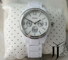 Fossil Caleigh BQ3343 Ladies Glitz Dial Multifunction White Acetate Watch