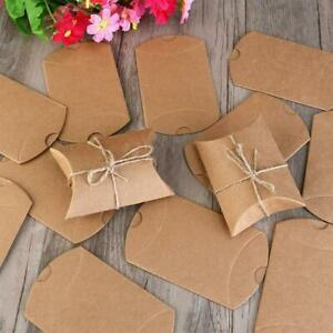 50X Wedding Favor Box Cute Craft Paper Pillow Party Favour Gift Cake Candy Bag