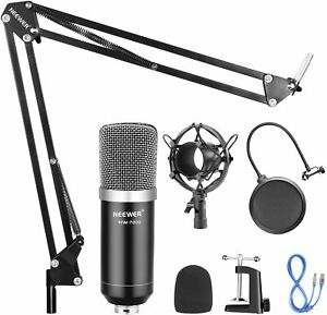 USB Microphone with Suspension Scissor Arm Stand Shock Mount and Pop filter