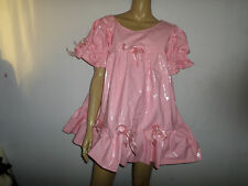 "ADULT BABY SISSY FETISH NOISY THICK  PINK PLASTIC DRESS 50"" PRETTY FRILLY"