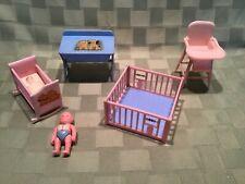 Lot Vintage Dollhouse Furniture Renwal Nursery Baby Play Pen High Chair Plus