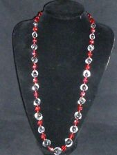Superb Vintage Czech Red, Clear and Black Crystal Necklace, 1920s