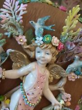 Rare Michal Negrin Victorian Cherub Angel Figurine Depose Italy Crystals Shabby