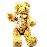 Vintage 1993 TV Inc Curly Fur Jointed Poseable Teddy Bear w Ribbon Around Neck
