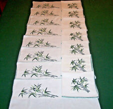 8 Vintage Linen Placemats, Napkins, Bamboo Petit Point Embroidery, China 1930-40