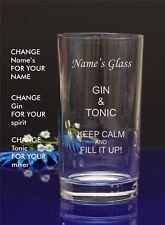 Personalised Engraved GIN AND TONIC Hi ball mixer spirit glass Birthday by jevge