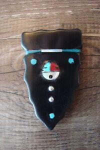 Zuni Indian Hand Carved Arrowhead Sunface Fetish by Jonathan Shack