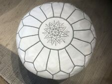 Stunning Moroccan Leather Ottoman Pouffe Pouf Footstool In White & Grey Stitch