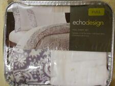 Echo Design Full Sheet Set Purple White  100% Cotton Sateen