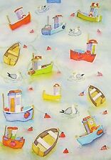 Emma Ball Boats Afloat Sea Scene 100% Cotton Tea Towel - Full Range In Stock