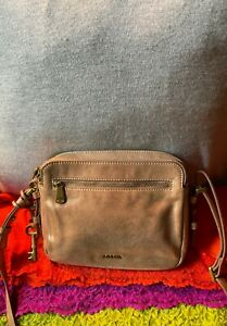 Fossil Piper Toaster Rose Gold Leather Double Zip Credit Card Zip Cross Body