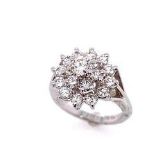 Cluster Right Hand Cocktail Ring Jaylen 18k White Gold Diamond