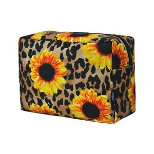 Leopard Sunflower NGIL Large Cosmetic Make Up Travel Purse Organizer Pouch NWT
