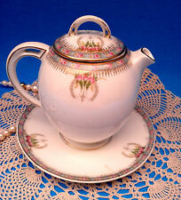 HC ROYAL BAVARIA c1900 Roses Tea / Chocolate / Syrup Pot & Attached Underplate