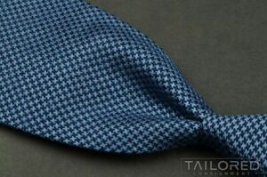 TURNBULL & ASSER Blue Houndstooth 100% Silk Mens Luxury Wedding Tie - 3.75""