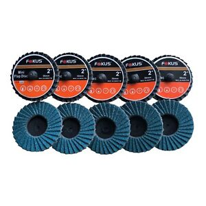 "Fokus 10 Pack 2"" Grit 80 Zirconia Flap Disc Roloc Grinding Type R Wheels T27"