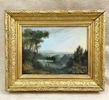 Antique Framed Oil Painting Rural Landscape Original 19th Century Victorian Art