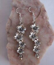 Tibetan Silver Long Flower,925 Sterling Silver Hook Dangle Earrings.Handmade