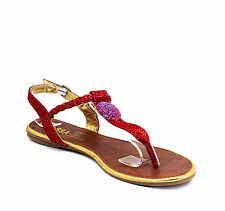 LMK228 T-Strap Thong Toe Gladiator Flats Sandals Women Shoes Red 8