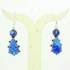 Earrings natural blue druzy quartz gemstone handmade charming jewelry 17 grams