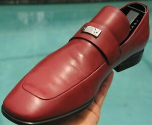 GUCCI Men's Red ' Mila' Leather dress shoes loafers Italy Sze 9 .D US 10.APPROX