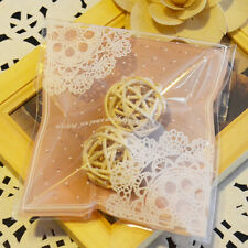 100pcs Double-Lace Pink Wedding Gift Bakery Cake Self-Adhesive OPP Plastic Bags