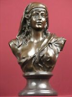 SIGNED BRONZE HANDCRAFTED CLASSIC SCULPTURE LADY BUST STATUETTE ON MARBLE BASE